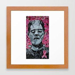 October's hopes and horrors- Frankenstein's monster fighting breast cancer Framed Art Print