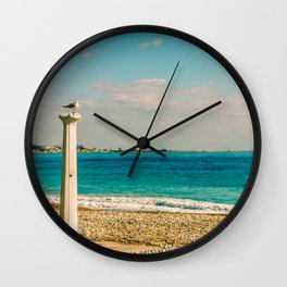 Seacoast of Cagnes-sur-Mer in a sunny winter day Wall Clock