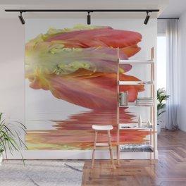 Orange Parrot Tulip Reflecting Wall Mural
