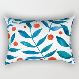 Watercolor berries and branches - blue and orange Rectangular Pillow