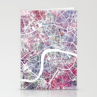 london map Stationery Cards featuring London map by MapMapMaps.Watercolors