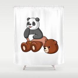 Naughty Panda Wear Grizzly Bear Costume Shower Curtain