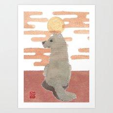DOG, Pink Sunset, Mixed Media  Art Print