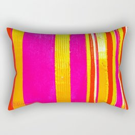 pink red yellow white stripes Rectangular Pillow