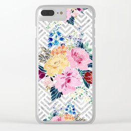 Pretty winter floral and diamond geometric design Clear iPhone Case
