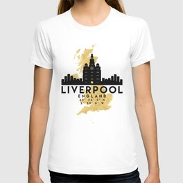 LIVERPOOL ENGLAND SILHOUETTE SKYLINE MAP ART T-shirt
