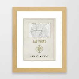 Las Vegas Nevada - Vintage Map and Location Framed Art Print
