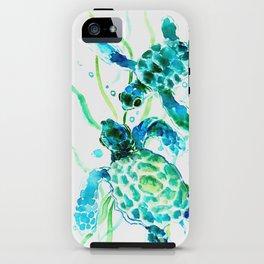 Sea Turtles, Turquoise blue Design iPhone Case