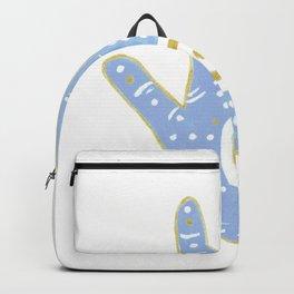Hamsa Horus Blue White Palm Evil Eye Backpack
