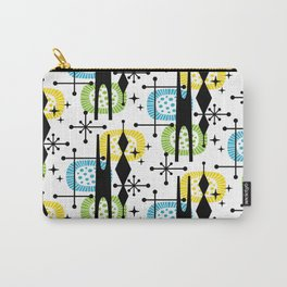 Retro Atomic Mid Century Pattern Yellow Green and Turquoise Carry-All Pouch