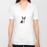 boston terrier V-neck T-shirts featuring Boston Terrier by 52 Dogs