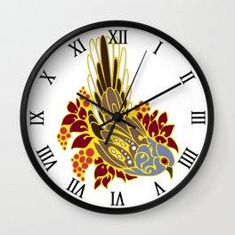Diamond dove bird tribal tattoo Wall Clock
