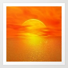 Sonne über dem Meer Art Print