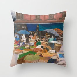 Kathmandu Market - Nepal Throw Pillow