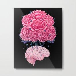 Brain with peonies on black Metal Print