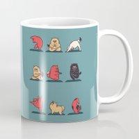 yoga Mugs featuring Cat Yoga by Huebucket