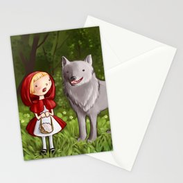 Red riding hood meets the wolf Stationery Cards