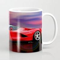 ferrari Mugs featuring Red Ferrari by JT Digital Art