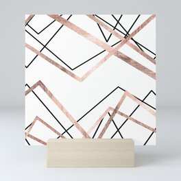 Rose Gold White Linear Triangle Abstract Pattern Mini Art Print