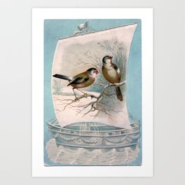 Vintage Birds on a Boat Art Print