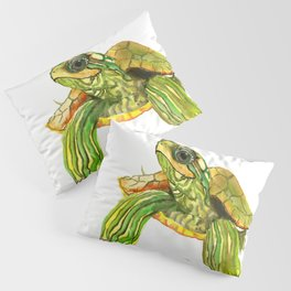 Baby Turtle, Green, Yellow Olive Green Children Pillow Sham