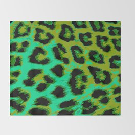 Aqua and Apple Green Leopard Spots Throw Blanket