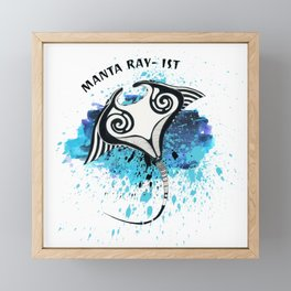 Manta Ray ist ink Watercolor Splash Framed Mini Art Print