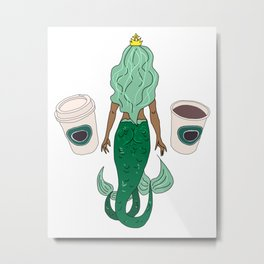 Mermaid Coffee Butt Dark - Fast Food Butts Metal Print