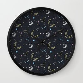 Doodle space with planets, moon, rocket and stars. Wall Clock
