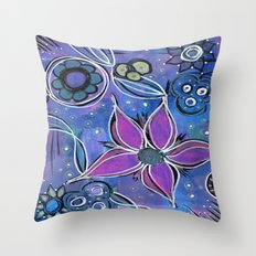 Purple Flowers Background Throw Pillow