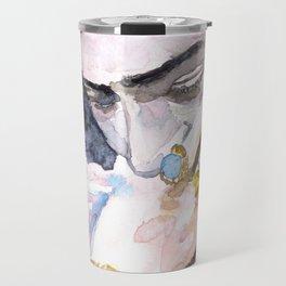 Frida Kahlo watercolor portrait Travel Mug