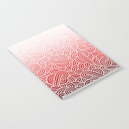 Ombre red and white swirls doodles Notebook