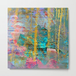 Abstract Gold Streaks on Pink and Turquoise Metal Print