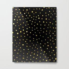 Brushed Gold Dots Metal Print