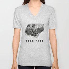 """""""Bus Life"""" B&W Mandala Illustration Unisex V-Neck"""
