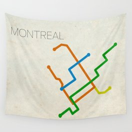 Minimal Montreal Subway Map Wall Tapestry