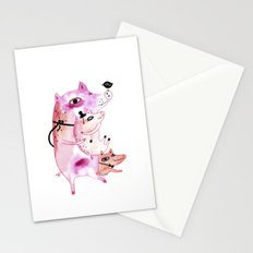 Three and Free Little Pigs Stationery Cards