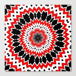 Bizarre Red Black and White Pattern Canvas Print
