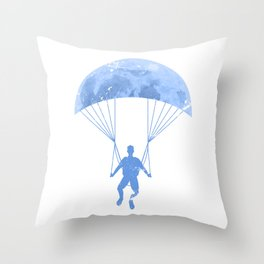 Paragliding By The Moon Throw Pillow