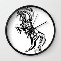 pentagram Wall Clocks featuring Pentagram Tribal Horse by Arixona