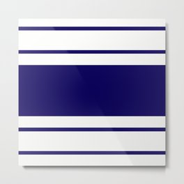TEAM COLORS 9....Navy, white Metal Print