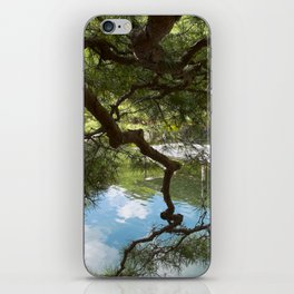 Soothing japanese pond and pine trees iPhone Skin