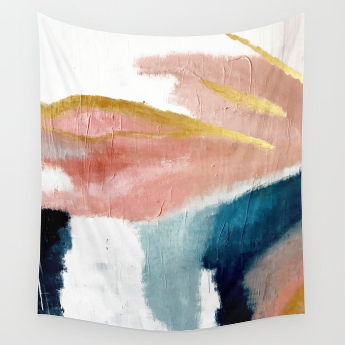 Exhale: a pretty, minimal, acrylic piece in pinks, blues, and gold Wandbehang