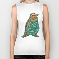 ethnic Biker Tanks featuring Ethnic Penguin by Pom Graphic Design