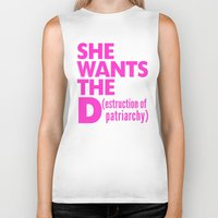 patriarchy Biker Tanks featuring She Wants the D (estruction of Patriarchy) - Pink by CreativeAngel