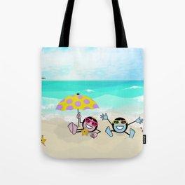 """""""Pops"""" Emoji Beach Scene Tote Bag"""