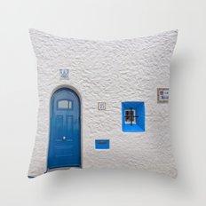 Blue door in Sitges Throw Pillow