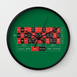 roulette layout Wall Clock