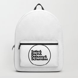 Satie and Bach and Debussy and Schumann, Classical Music Composers, circle Backpack