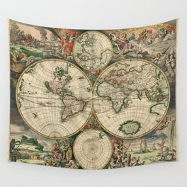 Vintage World Map 1689 Wall Tapestry